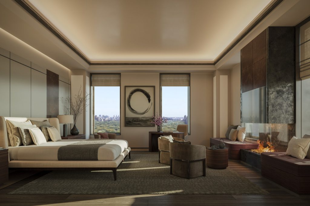 A rendering of a bedroom. Prices range from $4.65 million to $83.5 million. ILLUSTRATION: AMA