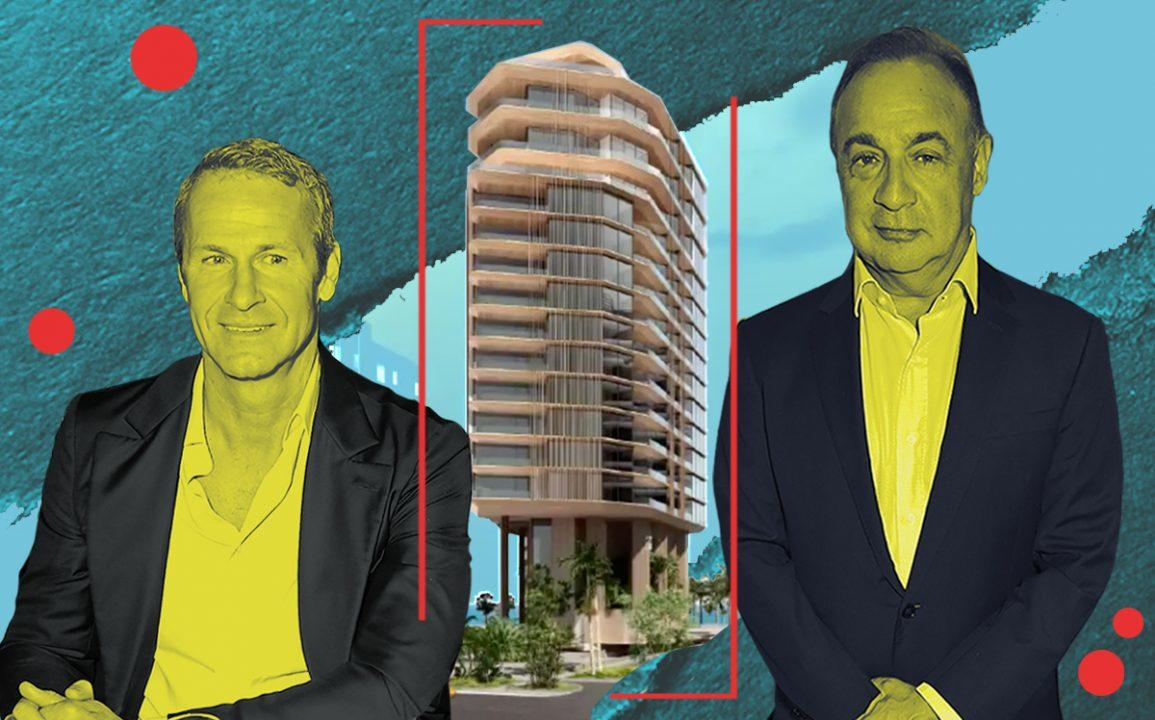 Vlad Doronin, Len Blavatnik and a rendering of Aman Miami Beach (Getty)